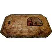 Early Folk Art Hooked Table Mat