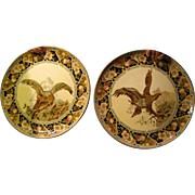 Pair of Majolica Wall Plaques with Eagles