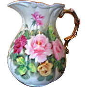 Vintage Large China Water Pitcher Hand Painted with Roses on Green Back Ground