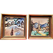 Vintage Framed Tile Paintings, Set of two,
