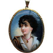 SALE Antique Pendant of Porcelain Painted Portrait of a Young Girl
