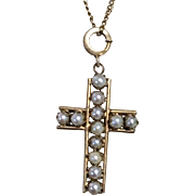 SALE Antique Gold Fill and Pearl Cross Pendant and Chain