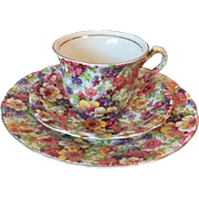 James Kent Du Barry Pattern Chintz Demitasse Cup Saucer and Side Plate
