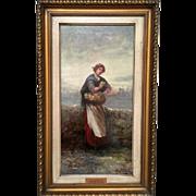 "John A. McColvin (1864-1920) Original Oil/Canvas Painting. ""The Flower Gatherer."""