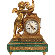 Cupid with Rooster Malachite Clock