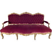19th Century Louis XV-Style Grand Palace Giltwood Sofa