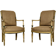 Pair of 19th Century Empire-Style Directoire Armchairs