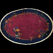 Antique Chinese Art Deco Full Pile Oval Handmade Oriental Rug Sh20643