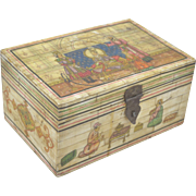 1950s Indian Vintage Hand Crafted Fitted Figurative Painted Wooden Jewellery Box
