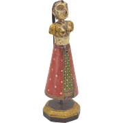 1900s Indian Antique Hand Crafted Painted Wooden Goddess Gangaur Figurine