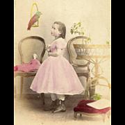 HAND-PAINTED The PARROT Girl CRINOLINE Dress PET BIRD Antique TOY DOLL