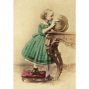 HAND-PAINTED Girl in Green CRINOLINE Dress with WICKER BASKET cdv