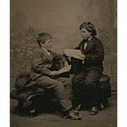 """The LESSON, Boys in SACK COAT Suits, WORKING CLASS, """"READING"""" Book and Letter Tintyp"""