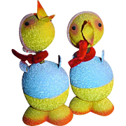 Pair Vintage Easter Candy Containers~Bobble Head Chicks