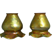 A Matching Pair of Diamond Quilted Quezal Gold Iridescent Art Glass Shades