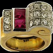 Retro 18k Yellow Gold Diamonds Ruby Buckle Design Ring C. 1940