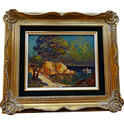 SOLD Original, Vintage Landscape Oil Painting on Wood Panel of the Cote d'Azur by Listed Artis