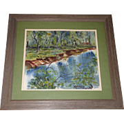 Original 1960s River Landscape Watercolor Painting. Cabin in Woods by Richard C Fleck