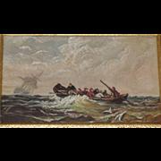 Original 1892, Antique Miniature Oil Painting on Porcelain/Ceramic Tile. Lifeboat Escaping ...
