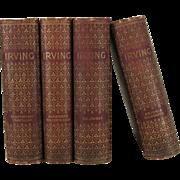Antique Washington Irving Decorative Books, Set of 4