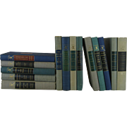 Vintage Set of Grey, Blue  and Green Modern Library Series, S/14