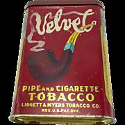 Vintage Velvet Tobacco Pocket Tin c. 1910
