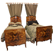 SALE Pair of Matching Circa 1900 Louis XV Beds with Customized Bedding, Mattresses, Footstools