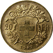 SOLD 1947 B Swiss Gold 20 Francs Helvetia