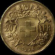 SOLD 1935 B Swiss Gold 20 Francs Helvetia