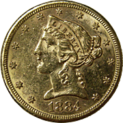 1884 S Liberty Head $5 Gold Coin