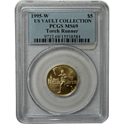 1995-W Gold $5 Commem Olympic Torch Runner MS-69 PCGS Coin