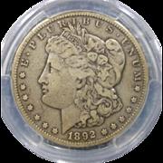 1892 CC Morgan Dollar PCGS Certified VF-30