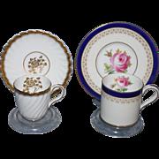 2 MINTONS Pre-1950 Demitasse Tea Cup & Saucer Sets English Bone China Gold Blue