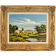 Listed Artist Fred Duran Western Southwest Landscape Indian Teepee Camp Oil Painting
