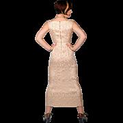 Sexy Vintage 50s Pink Brocade Wiggle Dress Metallic Gold Retro Evening Wear SMALL