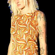 Fabulous 1960s Psychedelic Swirl Novelty Print  Mod Scooter Dress MEDIUM