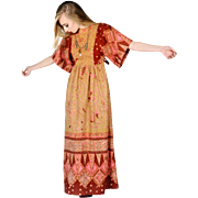 Beautiful 1970s Novelty Print Hippie Maxi Dress Kaftan SMALL XS