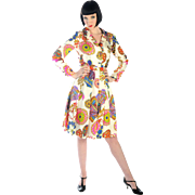 Wild 1960s Psychedelic SILK Dress by Shannon Rodgers for Jerry Silverman Novelty Print Wearabl