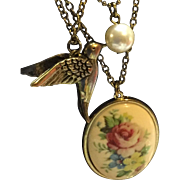 Pendant, Bird and Bead Charm Victorian Revival Necklace 1970's
