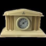 """1920's Celluloid Wind-Up Dresser Clock Monogrammed Letter """"M"""""""