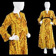 1960s Janice Wainwright for Simon Massey Gold Maxi Hippie Kaftan Dress