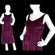 1960s Jean Varon Wine Velvet Evening Dress - 60s John Bates Design