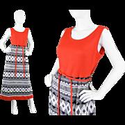 1970s Louis Feraud Long Orange Knit Maxi Dress with 70s Tribal Aztec Print
