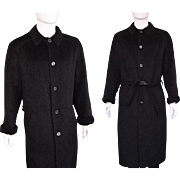 1970s Hermes Alpaca Wool and Lambskin Leather Fuzzy Longline Mens Coat