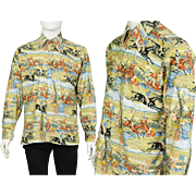 1970s Ben Sherman Rare Disco Shirt with Fox Hunting Print