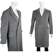 1960s  Men's Take Six Grey Wool & Cashmere Overcoat 60s Carnaby Street