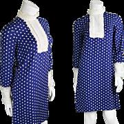 1960s Jean Varon Blue & White Polka Dot Dress