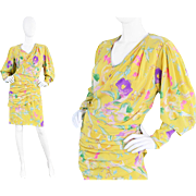 1980s Emanuel Ungaro Yellow Silk Cocktail Dress with 80s Floral Print