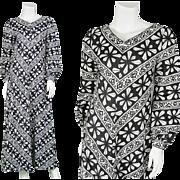 1970s Black & White Mod Maxi Finnish Designer 70s Dress