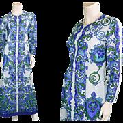 1970s Art Nouveau Pastel Blue & Green 70s Maxi Dress